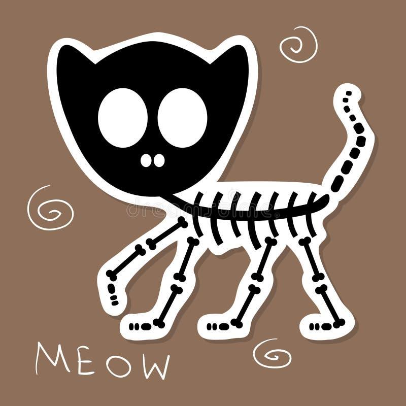 滑稽的猫骨骼 向量例证