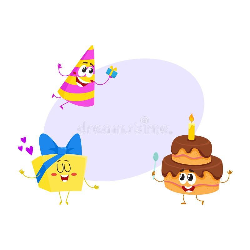 滑稽的生日字符-帽子,蛋糕,礼物盒,微笑的人面 库存例证