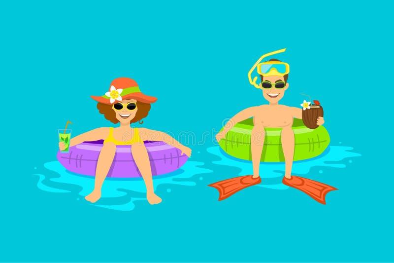 滑稽的男人和妇女,夫妇漂浮在海滩的,在可膨胀的圆环管的水池 库存例证