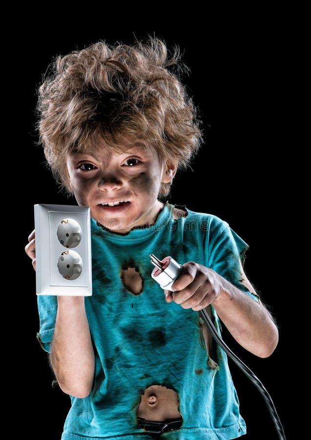 滑稽的矮小的电工画象  图库摄影