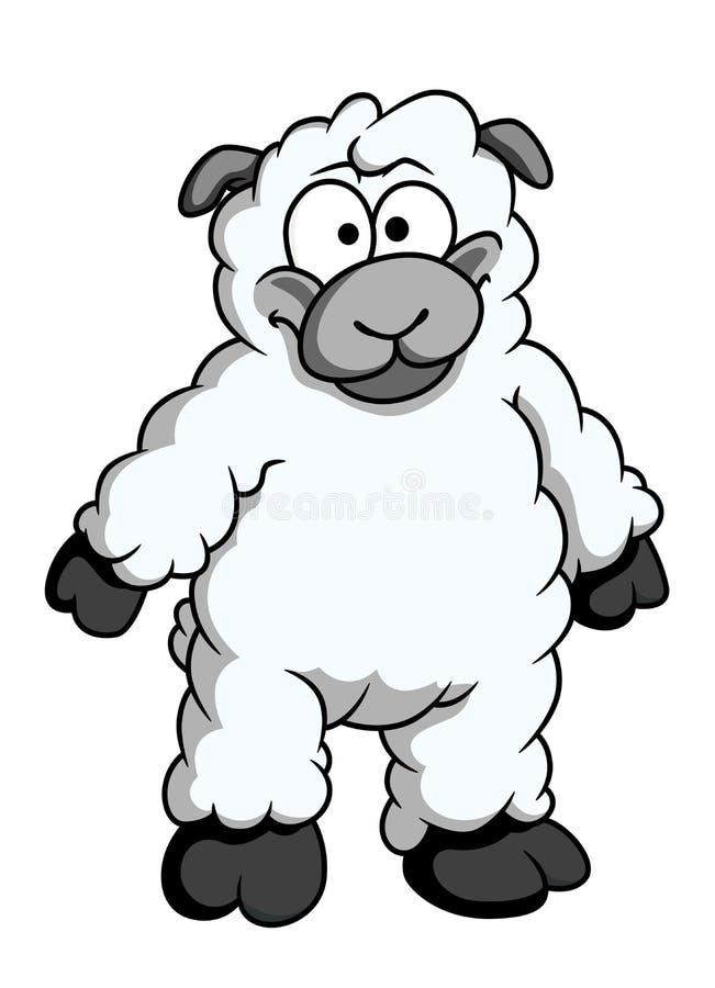 滑稽的羊毛制动画片绵羊 向量例证