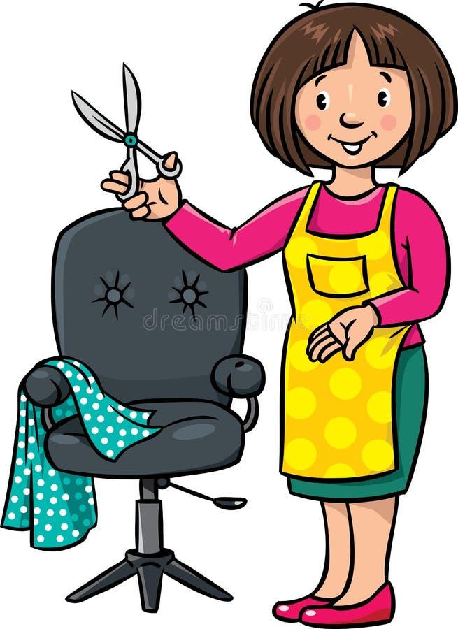滑稽的美发师或理发师 行业ABC系列 向量例证