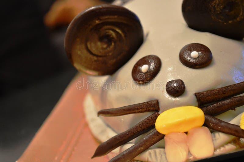 滑稽的老鼠生日蛋糕 免版税库存图片