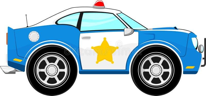 滑稽的蓝色警车动画片 向量例证