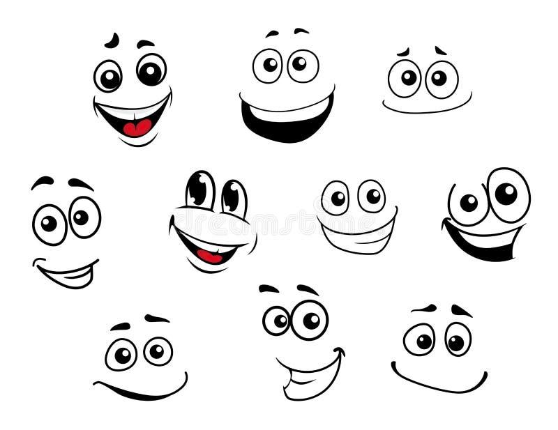 滑稽的被设置的动画片情感面孔 向量例证
