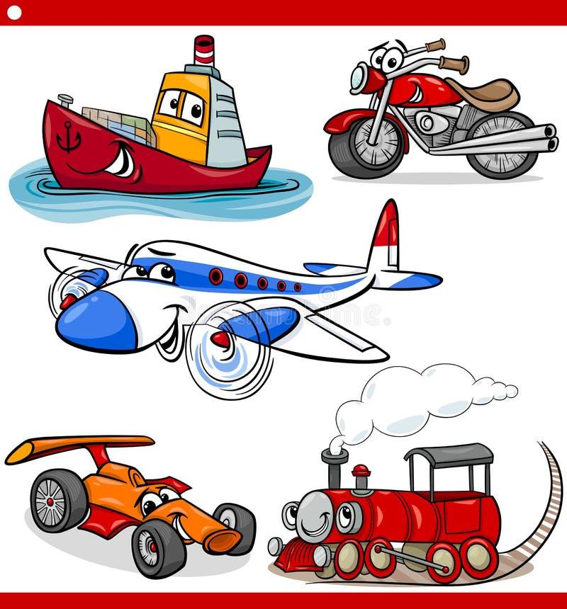 滑稽的被设置的动画片车和汽车 皇族释放例证