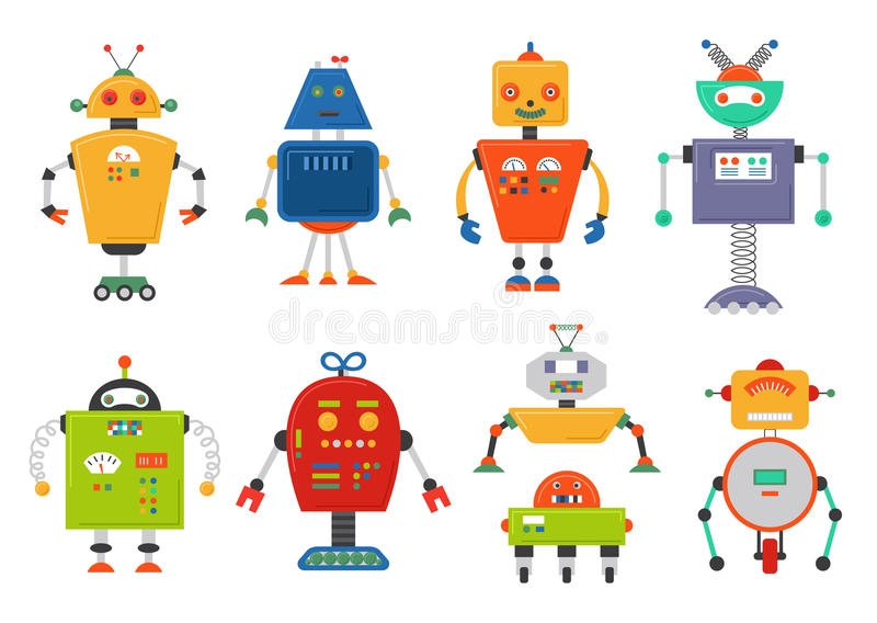 滑稽的被隔绝的机器人集合 在白色隔绝的未来机器人 平的传染媒介例证集合 库存例证