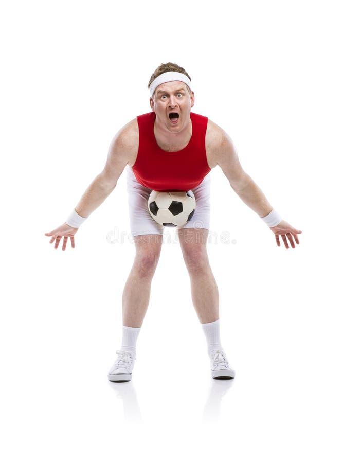 滑稽的足球运动员 图库摄影