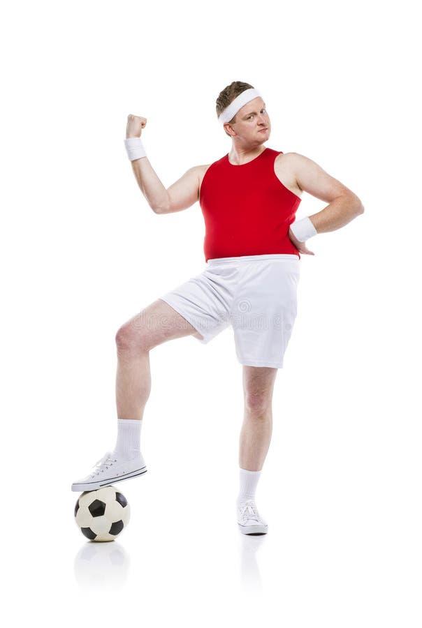 滑稽的足球运动员 免版税库存图片
