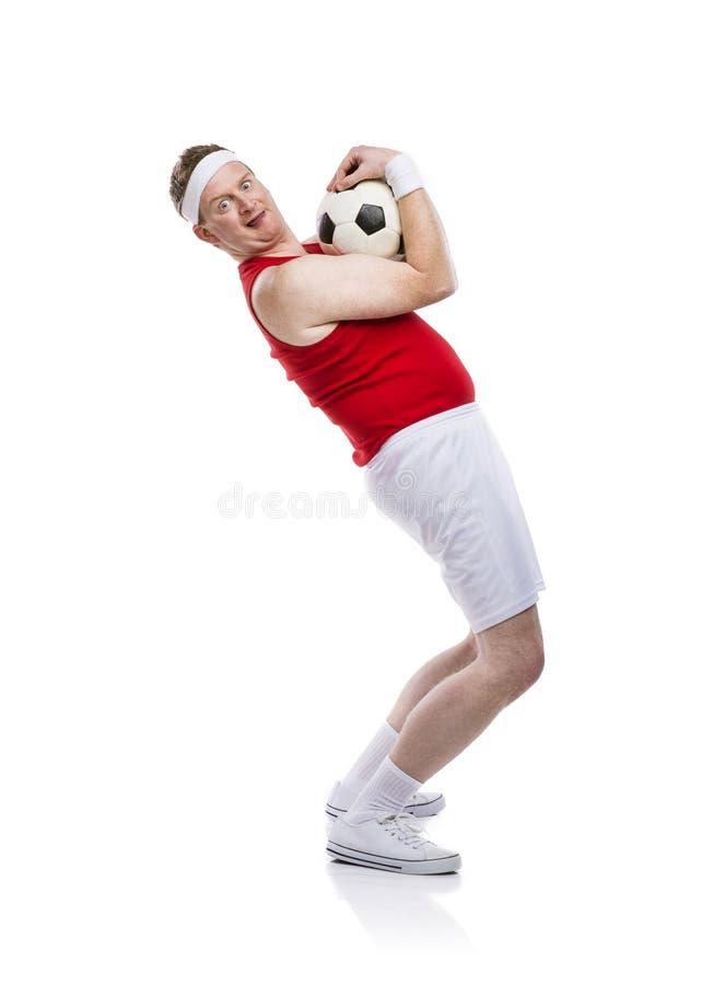 滑稽的足球运动员 库存照片