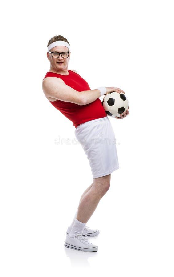 滑稽的足球运动员 库存图片
