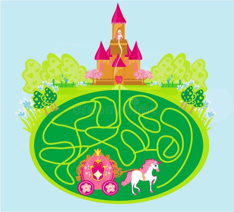滑稽的迷宫比赛-公主在城堡等待 库存例证