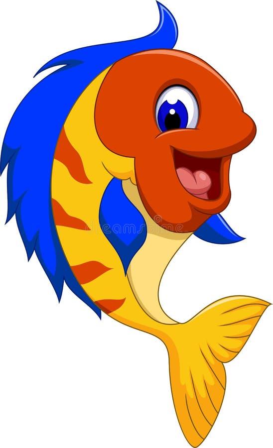 滑稽的逗人喜爱的鱼动画片关闭 库存例证