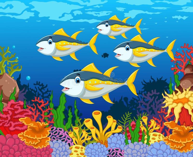 滑稽的金枪鱼动画片有秀丽海洋生活背景 库存例证