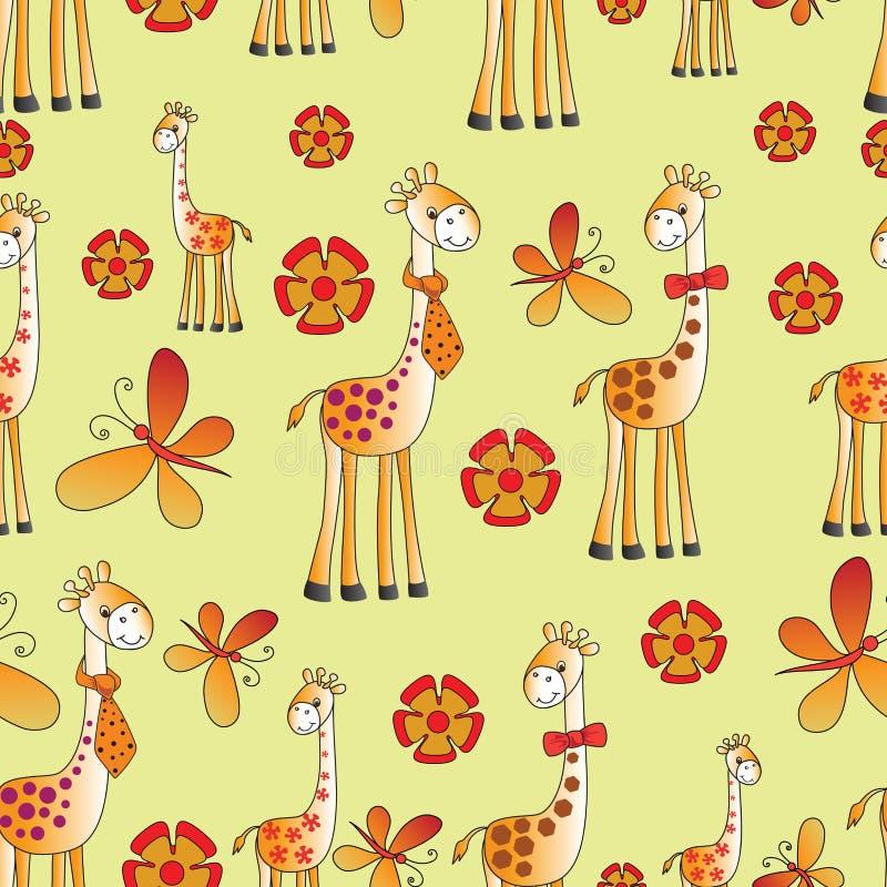 滑稽的长颈鹿、蝴蝶和花 皇族释放例证