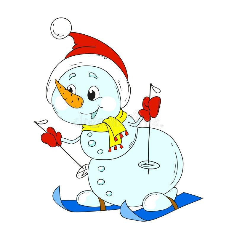 滑稽的雪人滑雪者 新年雪人字符 向量例证