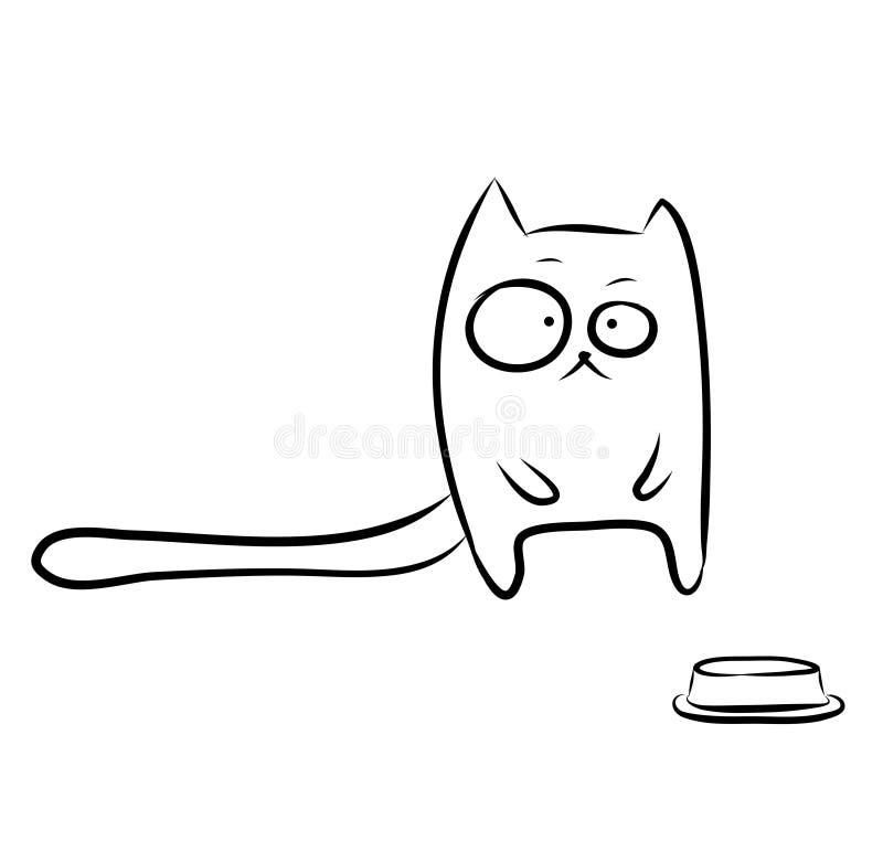 滑稽的饥饿的猫 皇族释放例证