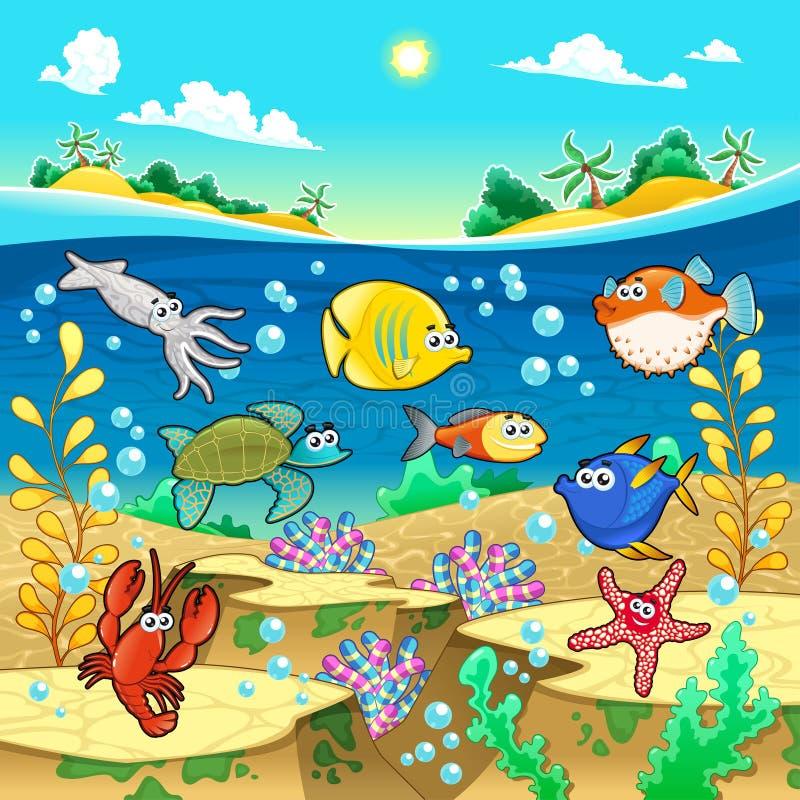 滑稽的鱼家庭在海。 向量例证