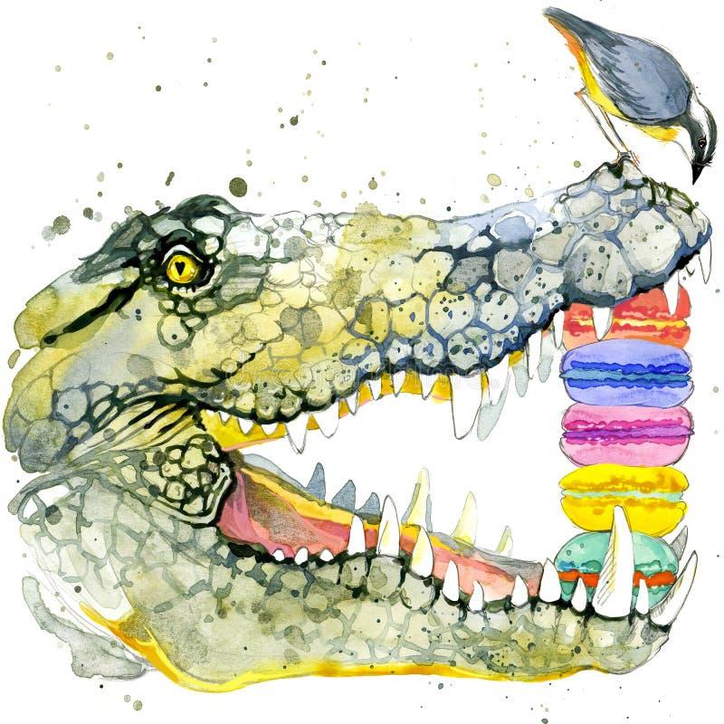 滑稽的鳄鱼和鸟水彩 时尚印刷品 皇族释放例证