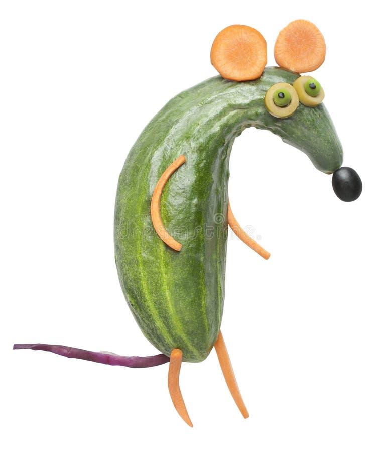 滑稽的鼠由菜做成 免版税库存照片