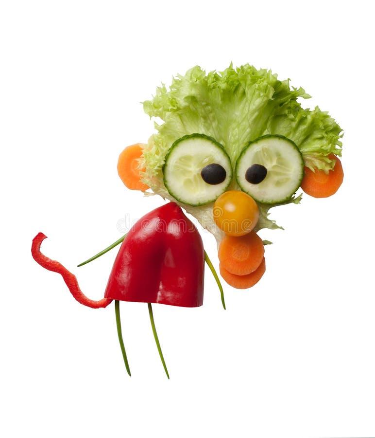 滑稽的猴子由新鲜蔬菜做成 图库摄影