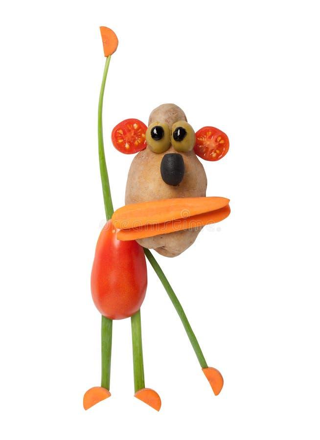 滑稽的猴子由菜做成 免版税库存照片