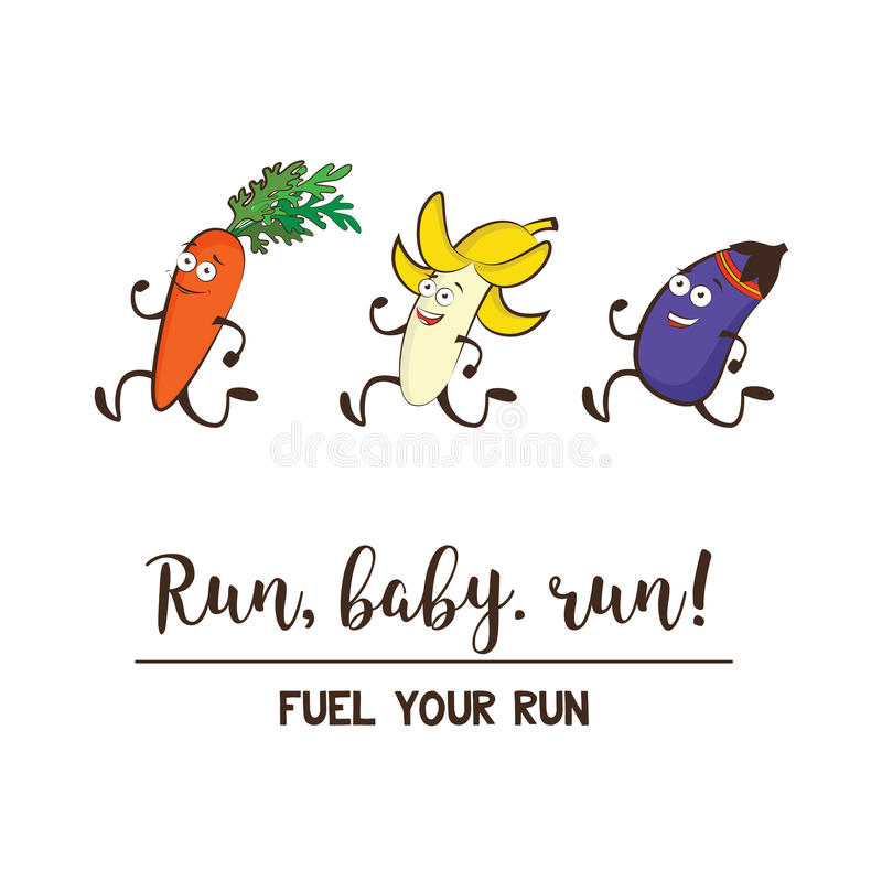 滑稽的水果和蔬菜 吃健康和健身 逗人喜爱的食物漫画人物传染媒介集合 库存例证
