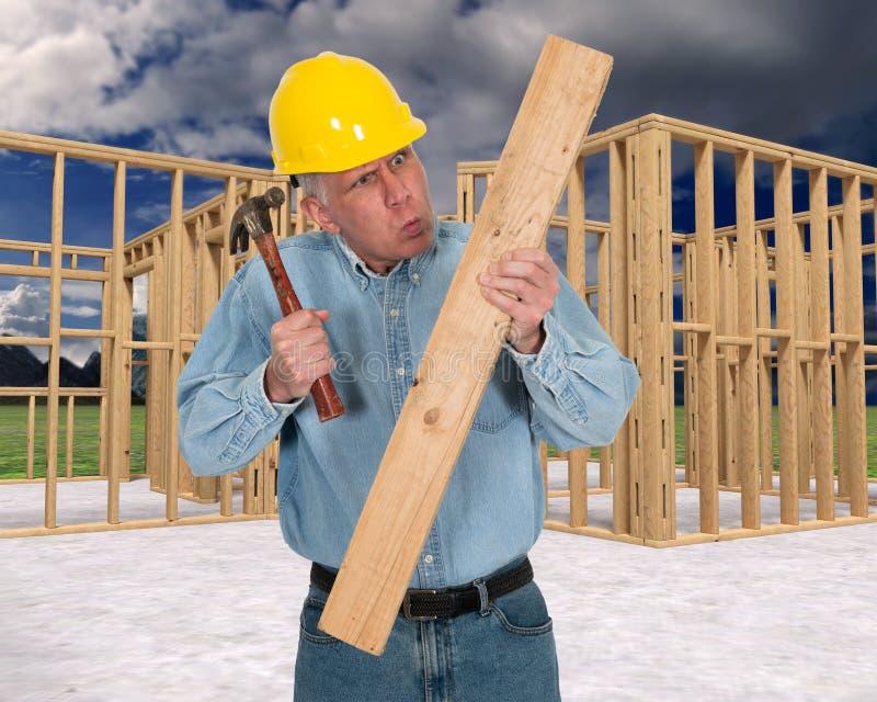 滑稽的建筑工人,工作安全 库存图片