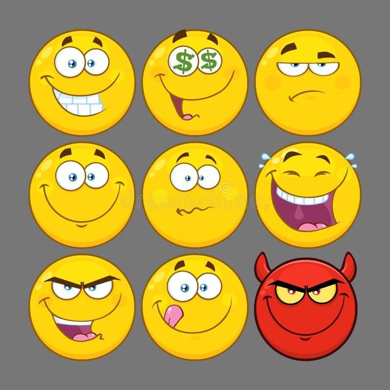 滑稽的黄色动画片Emoji面对系列字符集2 汇集 向量例证