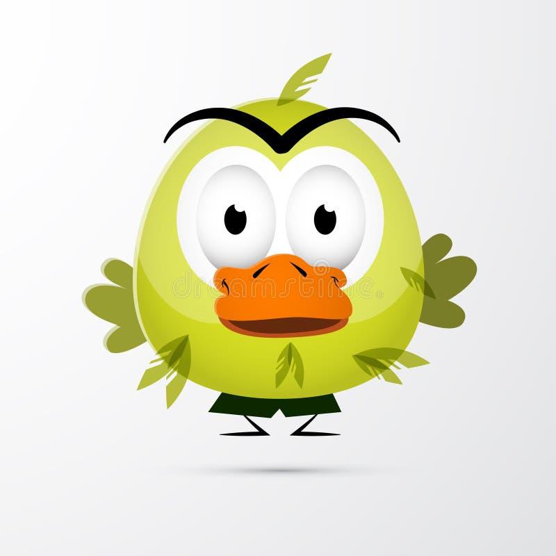 滑稽的绿色鸟例证 库存例证