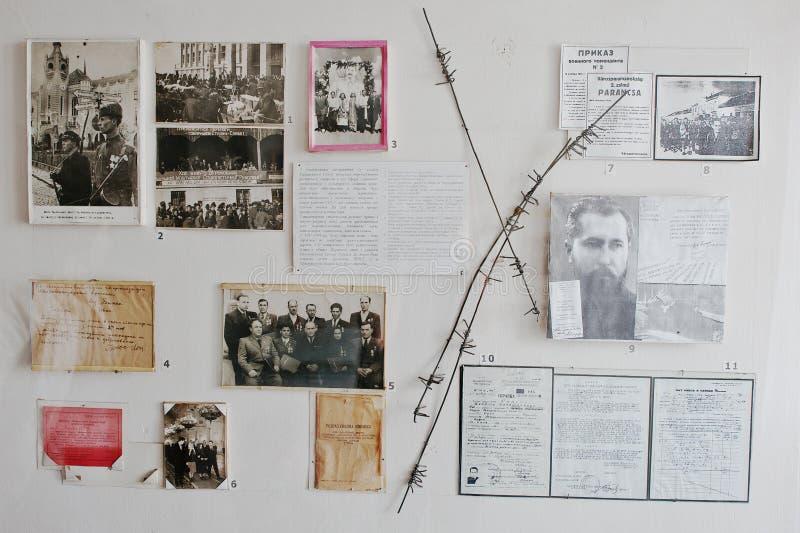 穆卡切沃,乌克兰- 4月11,2016 :老照片和文字记录 库存图片