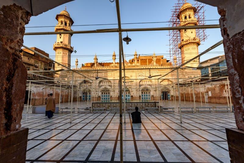 穆哈巴特可汗清真寺,白沙瓦,巴基斯坦 图库摄影