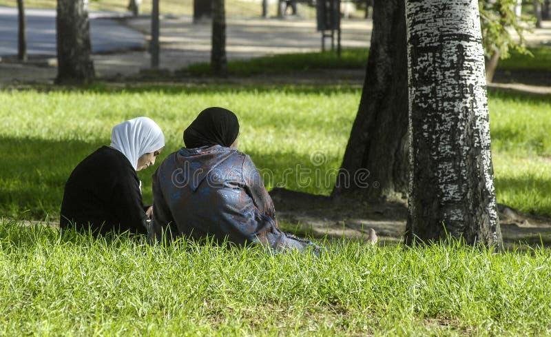 穆斯林在公园 库存照片