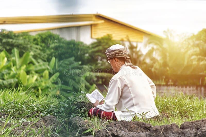 穆斯林在草坪中间坐写入古兰经 库存照片