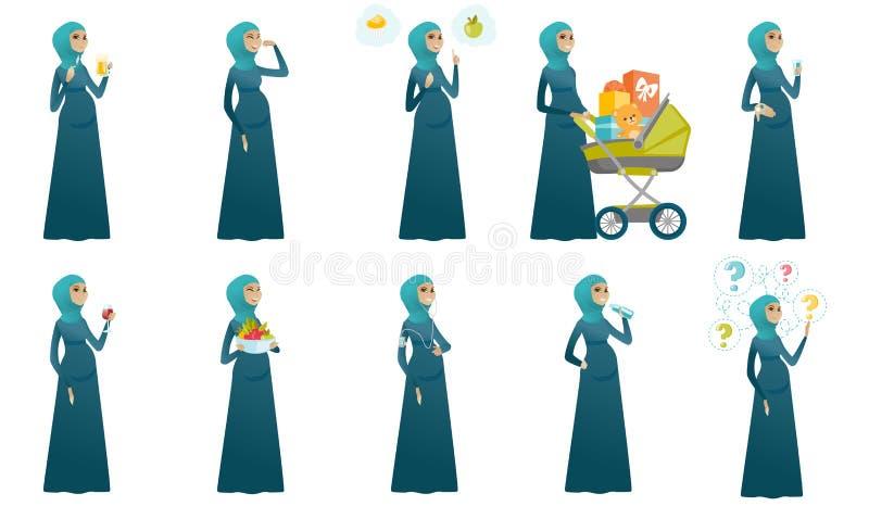 穆斯林孕妇被设置的传染媒介例证 向量例证