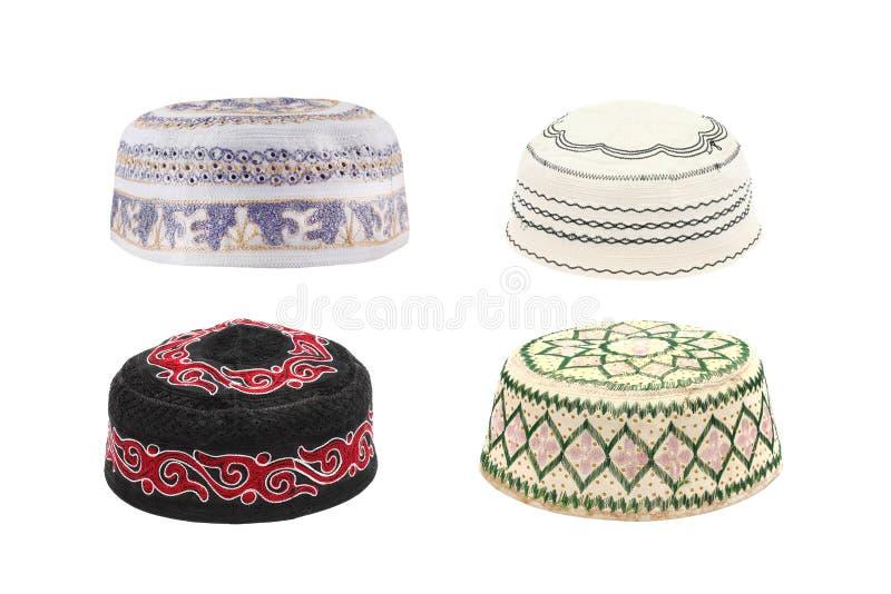 穆斯林的Kopiah帽子白色背景的 库存图片