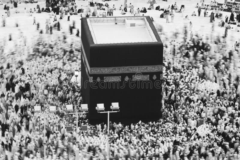 穆斯林祷告和Tawaf在AlKaaba附近的在麦加,沙特Arabi 库存照片
