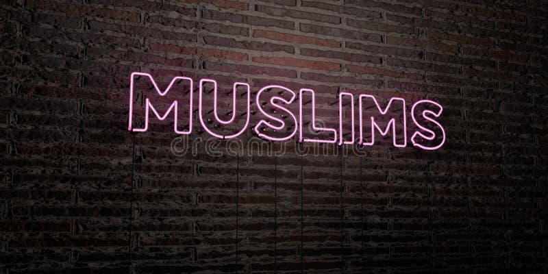 穆斯林-在砖墙背景的现实霓虹灯广告- 3D回报了皇族自由储蓄图象 皇族释放例证