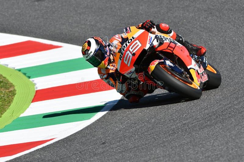 穆杰洛-意大利,6月1日:西班牙本田雷普索尔队车手行动的豪尔赫劳伦斯在2019 MotoGP意大利的GP 2019年6月的 免版税库存照片