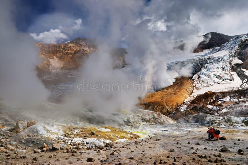 穆特洛夫斯基火山火山,堪察加 免版税库存图片