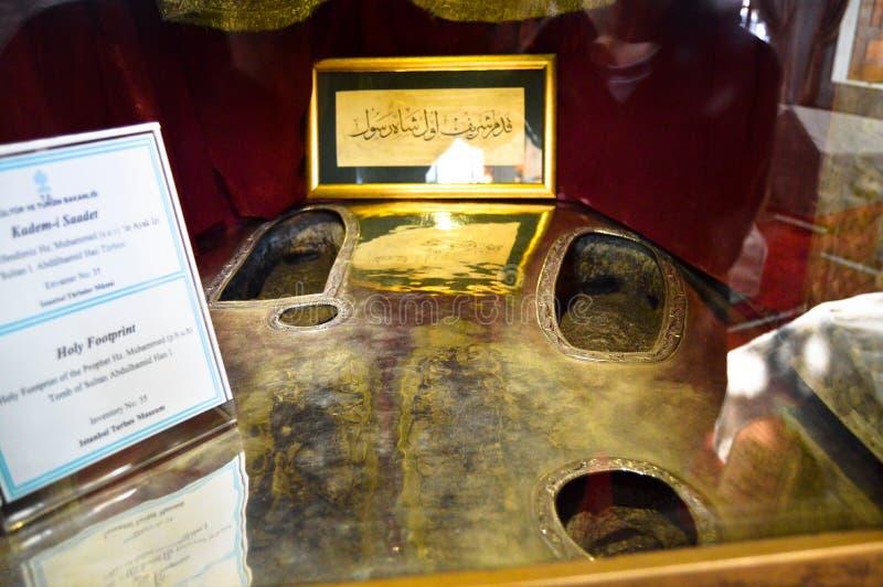 穆罕默德穆斯塔法,最后先知,Kademi Saadet脚印  图库摄影