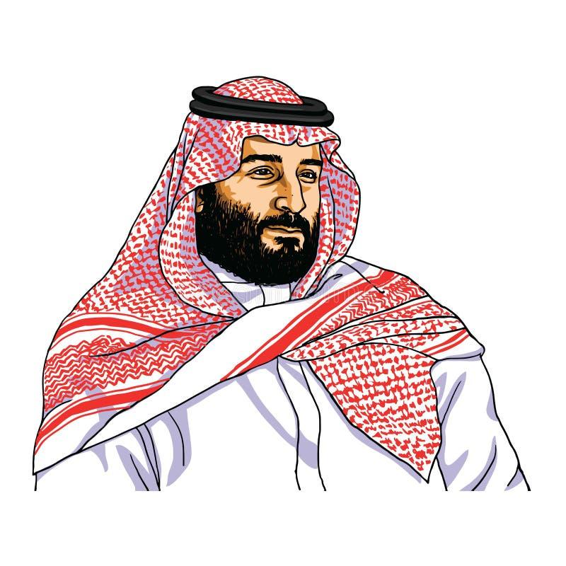 穆罕默德bin萨勒曼传染媒介画象讽刺画图画 利雅得,2018年12月4日 向量例证