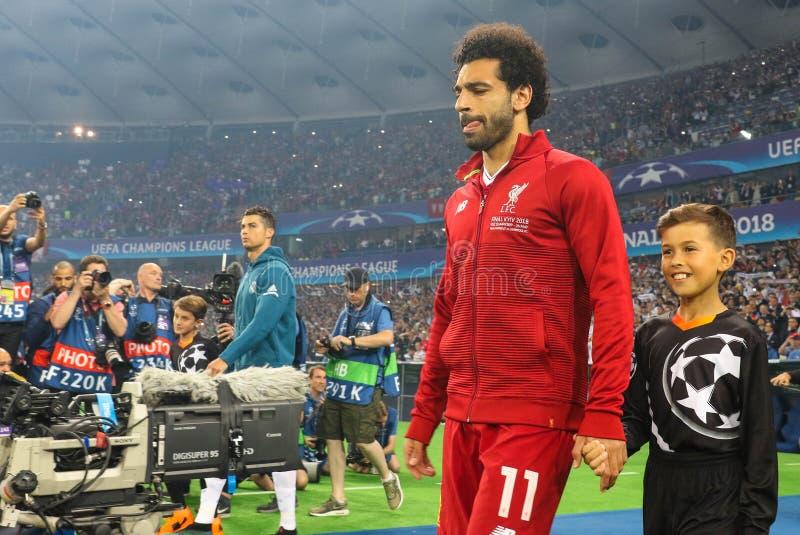 穆罕默德Salah足球运动员利物浦足球俱乐部 库存照片