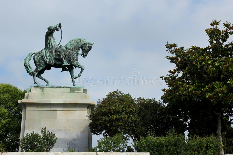 穆罕默德阿里古铜色骑马雕象  免版税库存图片