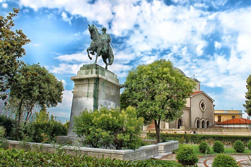 穆罕默德阿里古铜色骑马雕象  库存图片