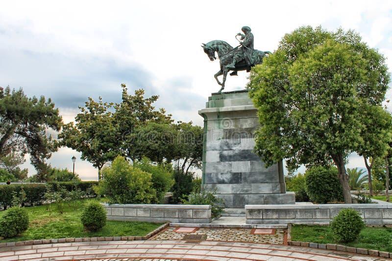 穆罕默德阿里古铜色骑马雕象  免版税库存照片