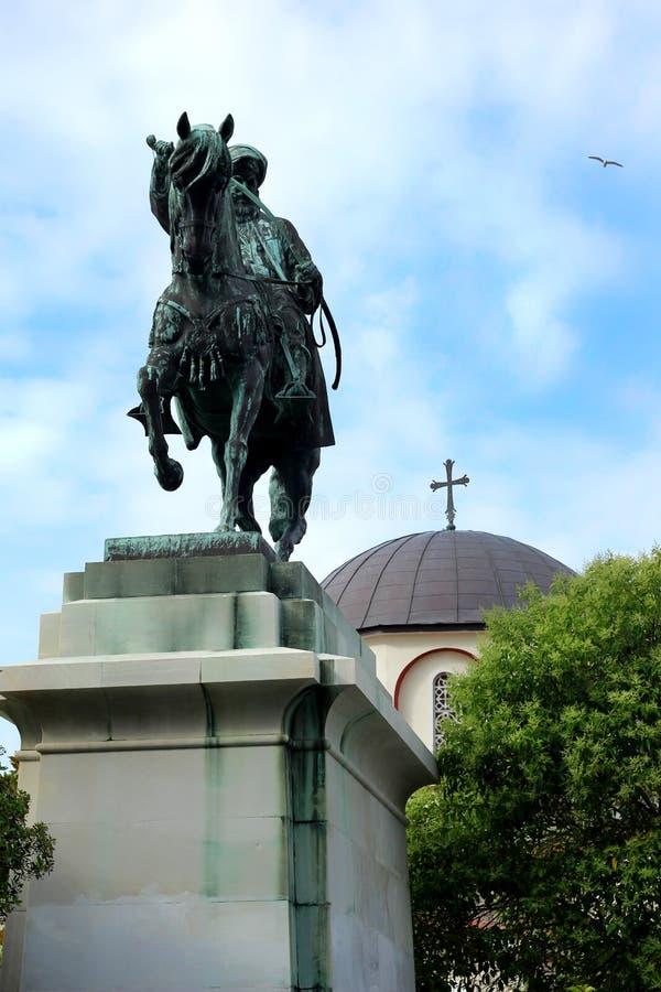 穆罕默德阿里和东正教古铜色骑马雕象  免版税图库摄影
