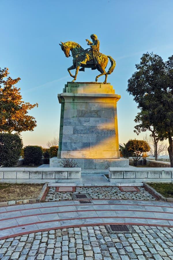 穆罕默德・阿里帕夏纪念碑在卡瓦拉、东部马其顿和色雷斯 免版税库存照片
