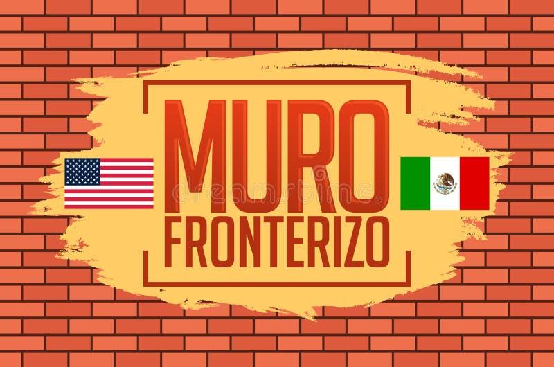 穆罗角Fronterizo,边界墙壁西班牙文本,概念传染媒介例证 皇族释放例证