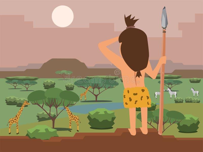 穴居人猎人寻找牺牲者 向量例证